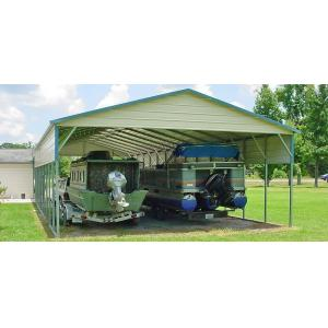 Standard Boxed Eave Carport - Beige with Green Trim