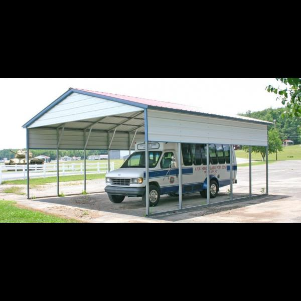 Steel Carport - White with Blue Trim