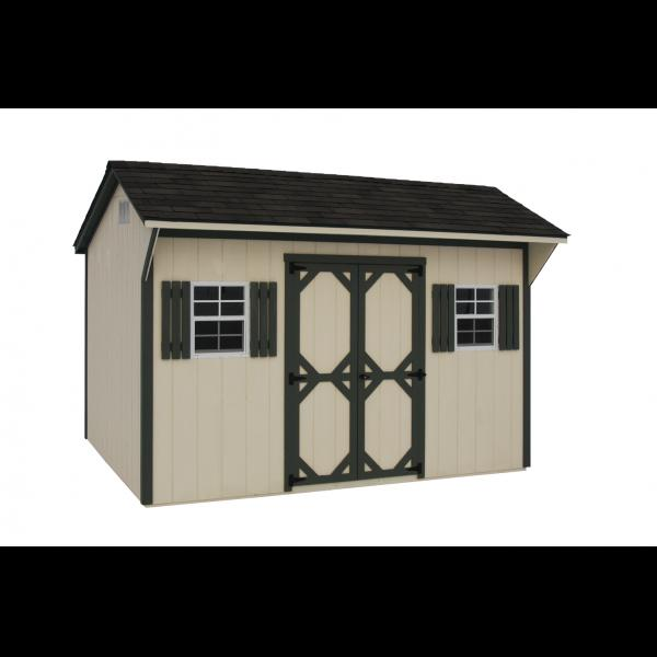 8x12 Quaker Shed - Beige with Green Trim