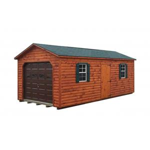 Log Cabin Style A Frame Garage - Brown with Green Trim