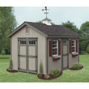1Ox14 New England Classic Garden Shed - Beige with Green Trim