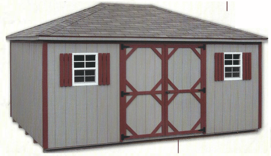 "12""x16' Hip Cottage - Gray with Red Trim"