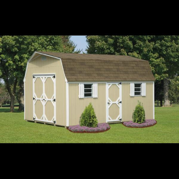12x16 High Wall Mini Barn - Beige with White Trim