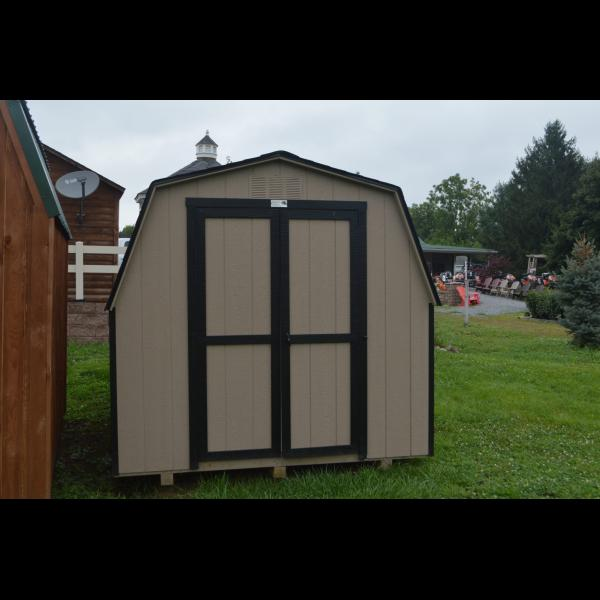 Low Wall Mini Barn - Beige with Black Trim