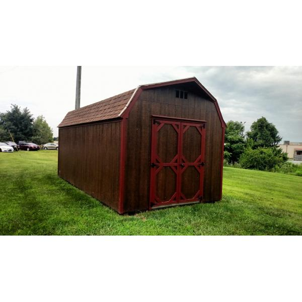 10x18 Super Barn - Brown with Red Trim