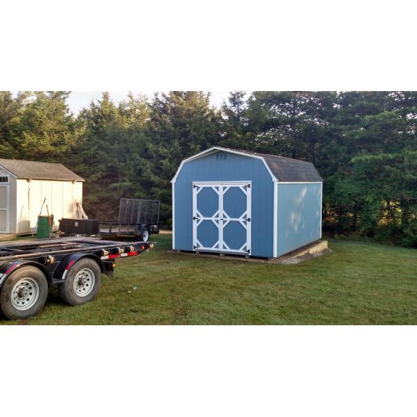 12x16 Super Barn - Blue with White Trim
