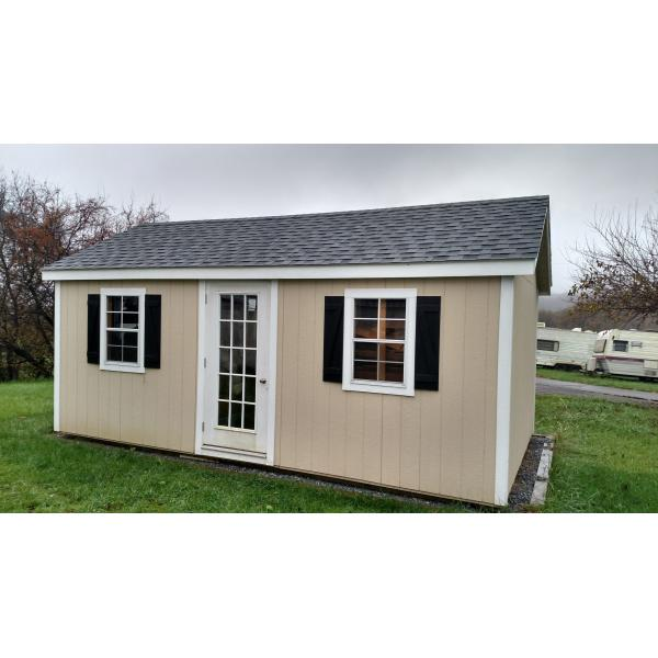 12x20 New England Classic Shed - Beige with White Trim
