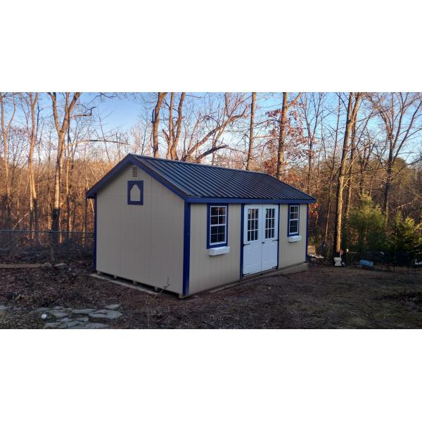 12x20 New England Classic Shed - Beige with Blue Trim
