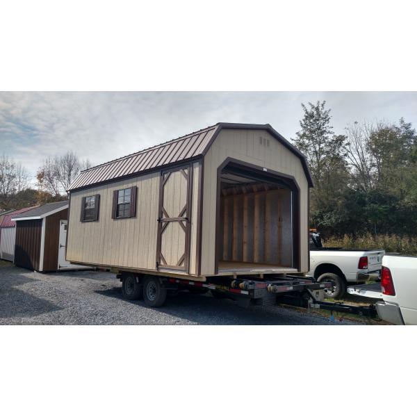 12x20 Super Barn Garage - Beige with Brown Trim