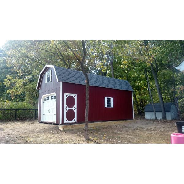 4x28 2 Story Super Barn Garage - Red with White Trim