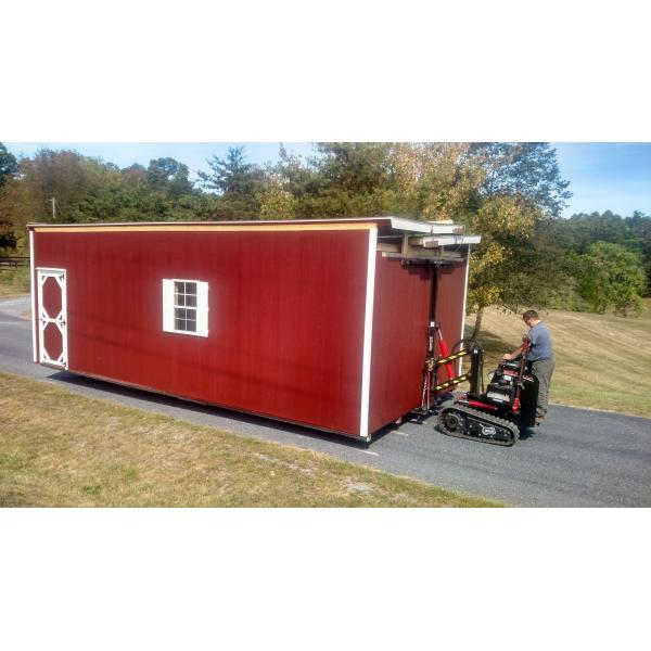 14x28 2 Story Super Barn Garage - Red with White Trim