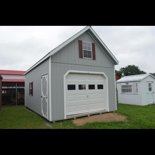 2 Story A Frame Garage - Gray with White Trim