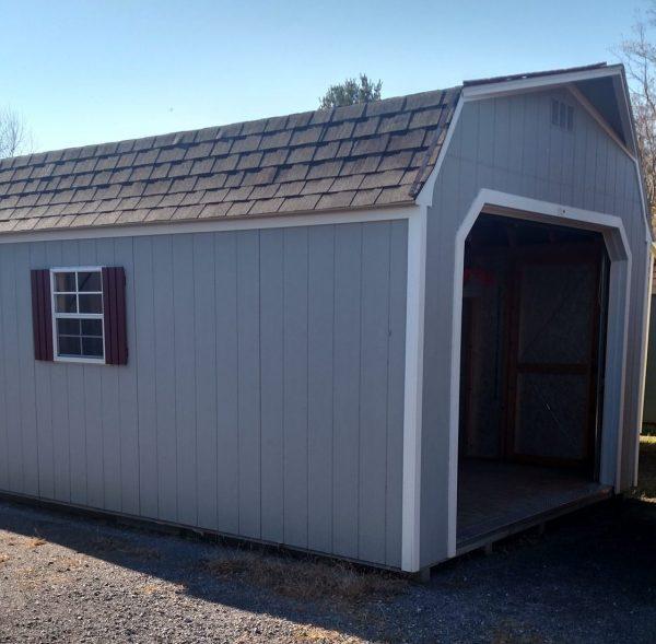 Super Barn Garage- Blue with White Trim