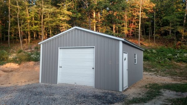 Standard Vertical Carport Fully Enclosed - Gray with White Doors