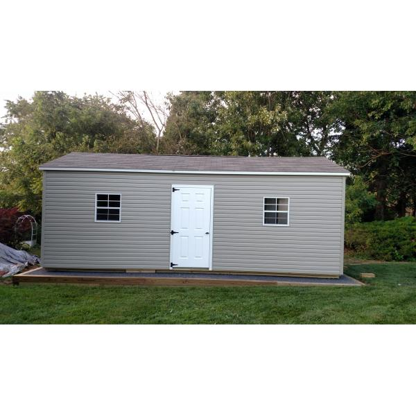 12x24 Vinyl A Frame Garage - Beige with White Trim