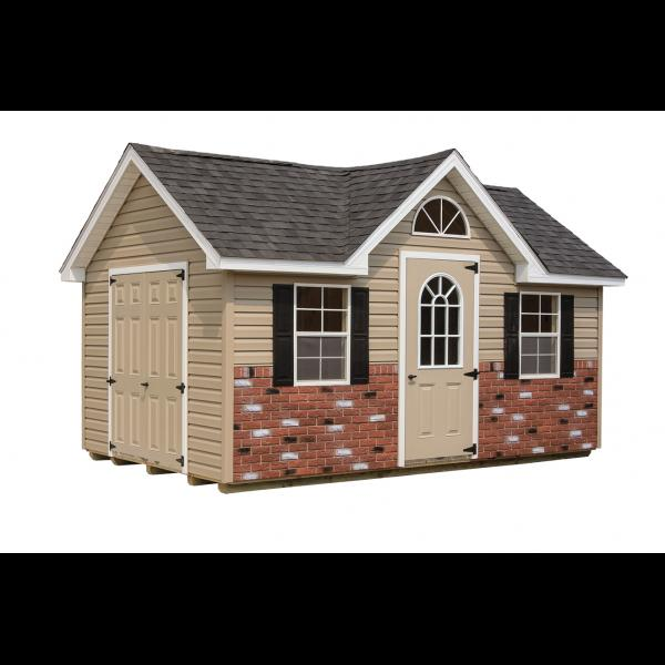 Victorian Shed - Beige with White Trim and Brick Bottom