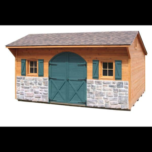 10x16 Cedar Quaker Shed - Brown with Green Trim and Stone Bottom
