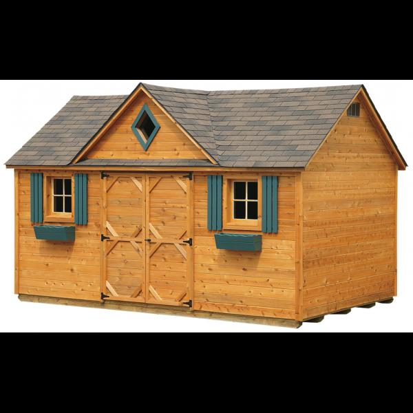 10x16 Cedar Victorian Shed - Brown with Green Trim