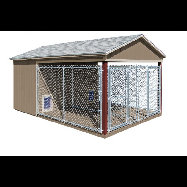 10x16 Dog Kennel - Beige with Red Trim