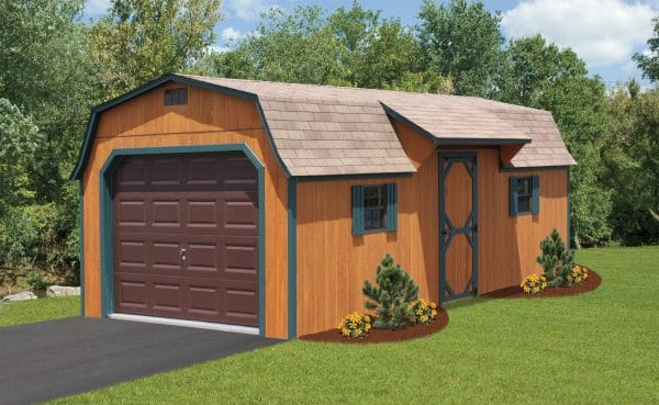 12x24 Cabin Style Barn - Brown with Green Trim