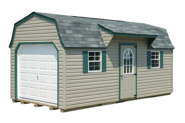 10x20 Cabin Style Barn - Beige with Green Trim