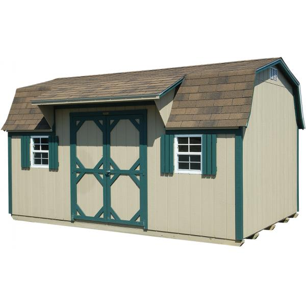 1Ox16 Cabin Style Barn - Beige with Green Trim
