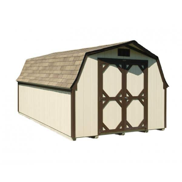 Low Wall Mini Barn - Beige with Brown Trim