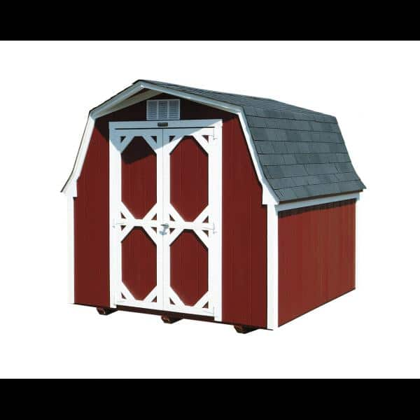 Low Wall Mini Barn - Red with White Trim