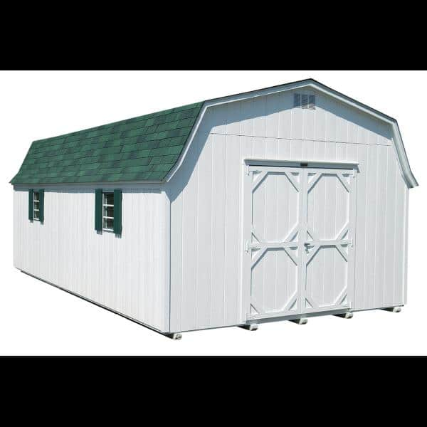 High Wall Barn - White with Green Trim