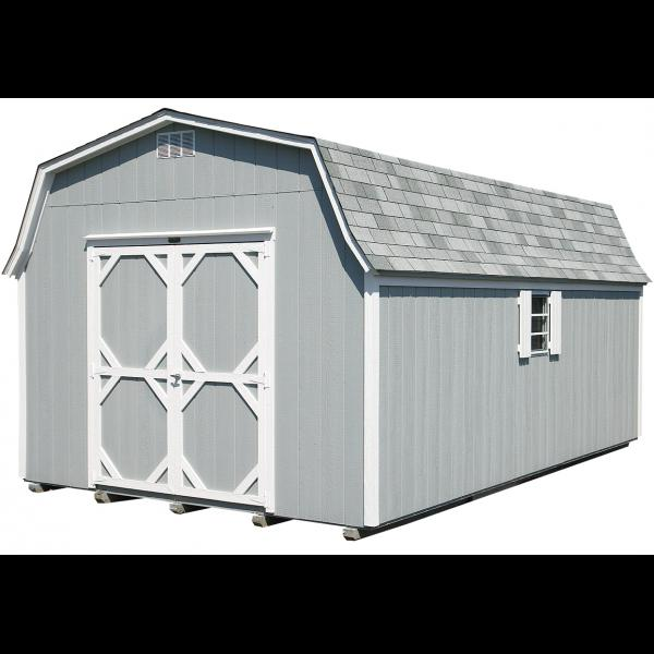 14x24 High Wall Mini Barn - Gray with White Trim