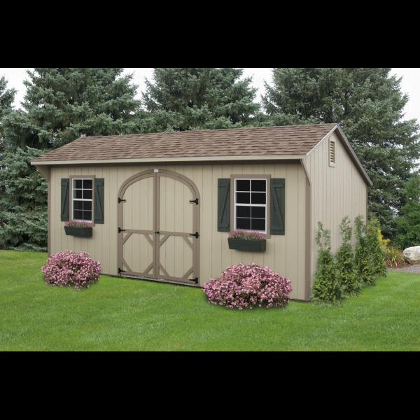 Quaker Shed - Beige with Green Trim