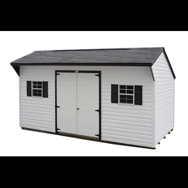 1Ox16 Quaker Shed - White with Black Trim