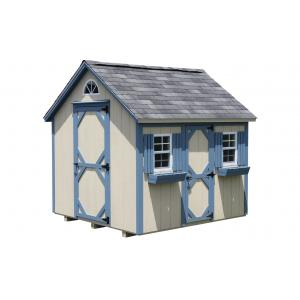 Mini Cottage Playhouse - Beige with Blue Trim