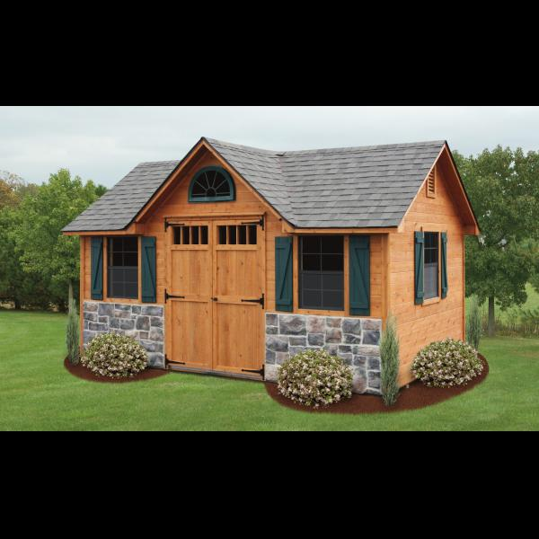 Cedar Victorian Shed - Brown with Green Trim and Stone Bottom