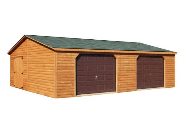 Log Cabin Style Double Wide 1 Story Garage - Brown with Green Trim