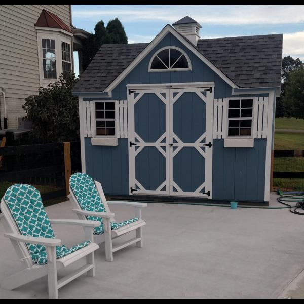 Victorian Shed - Blue with White Trim