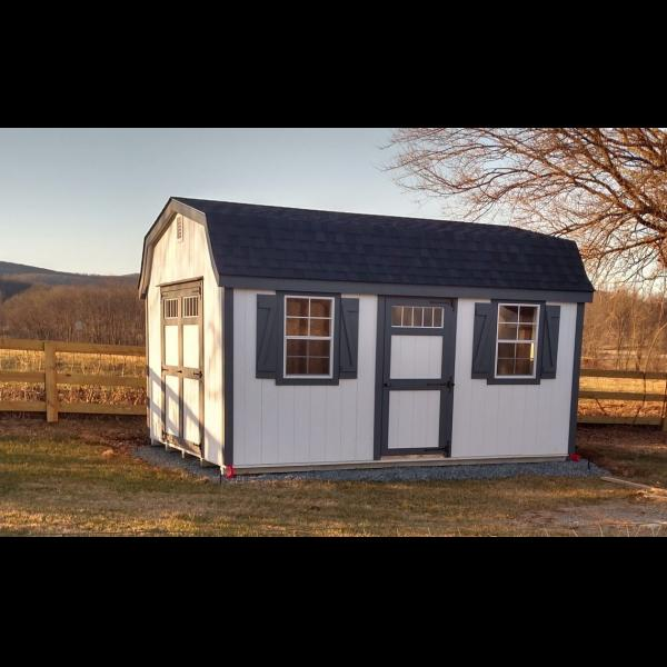 New England Style Barn - White with Black Trim