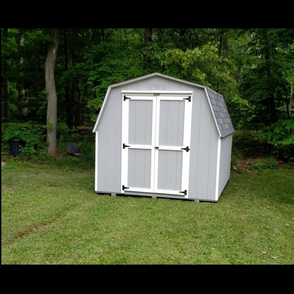 Freestone Mini Barn - Gray with White Trim