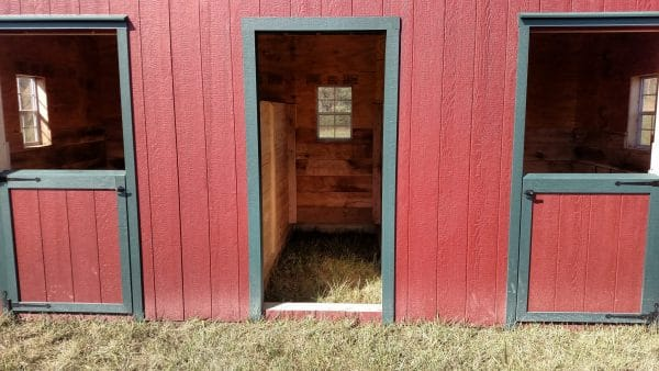 A- Frame Run In Shed - Red with Green Trim