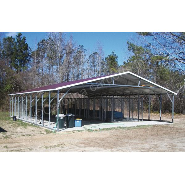 Boxed Eave Roof Style Top Only with 4' Braces On Every Leg and Welded Truss - Purple with White Trim