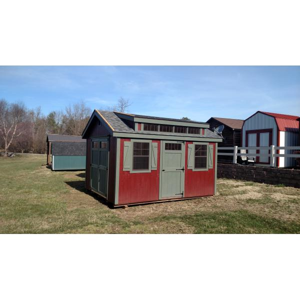 10x14 New England Classic Shed - Red with Green Trim